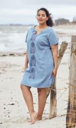 Denim Embroidered Sheath Dress  - Plus - Clean Blue - Front