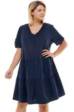 Tiered Smock Neck Dress - Plus - 3