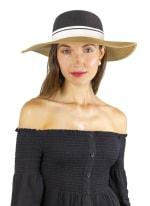 Ribbon Colorblock Straw Floppy Hat - Black / Toast - Back