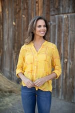 """Embroidered Plaid """"To Tie Or Not To Tie"""" Blouse - Misses - 6"""