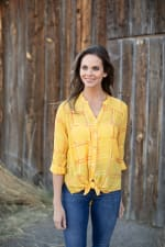 """Embroidered Plaid """"To Tie Or Not To Tie"""" Blouse - Misses - 3"""