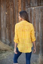 "Embroidered Plaid ""To Tie Or Not To Tie"" Blouse - Misses - Pineapple - Back"