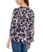 3/4 Sleeve Rayon Button Up Top - Aster Floral Stripe - Back