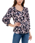 3/4 Sleeve Rayon Button Up Top - Aster Floral Stripe - Front