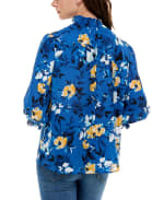 3/4 Puff Sleeve Polyester Smocked Neck Blouse - Water Color Flower Garden - Back