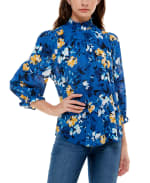 3/4 Puff Sleeve Polyester Smocked Neck Blouse - Water Color Flower Garden - Front