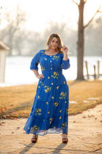 Royal Embroidered Texture Peasant Dress - Plus - 6