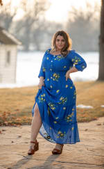 Royal Embroidered Texture Peasant Dress - Plus - 4
