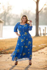 Royal Embroidered Texture Peasant Dress - Plus - 7