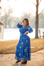 Royal Embroidered Texture Peasant Dress - Plus - 5