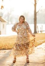 Veronica Mixed Print Peasant Dress - 6