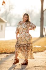 Veronica Mixed Print Peasant Dress - 8