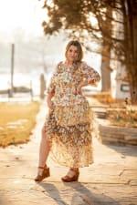 Veronica Mixed Print Peasant Dress - 7
