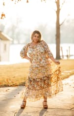 Veronica Mixed Print Peasant Dress - Plus - ivory/gold - Front