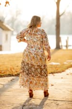 Veronica Mixed Print Peasant Dress - Plus - ivory/gold - Back