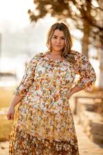 Veronica Mixed Print Peasant Dress - 5