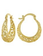 Boxed Gold Over Fine Silver Plated 22mm Filigree Hoops - Gold - Back