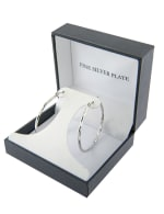 Boxed Fine Silver Plated 40mm Diamond Cut Hoops - Silver - Front