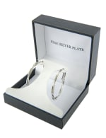 Boxed Fine Silver Plated 35mm Twisted Clutchless Hoops - Silver - Front