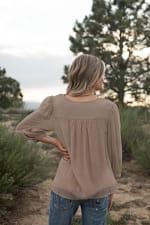 Lace Yoke Textured Blouse - Misses - Mocha - Back