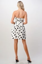 KAII Paint Brush Printed Tube Tucked Dress - White / Black - Back