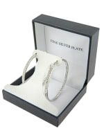 Boxed Fine Silver Plated 50mm Crystal Clutchless Hoops - 2