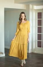 Mustard Clip Dot Maxi Peasant Dress - Misses - 3