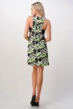 KAII Kaleidoscope Printed Side Band Dress - Black / Lime - Back