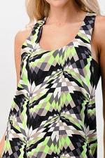 KAII Kaleidoscope Printed Side Band Dress - Black / Lime - Detail