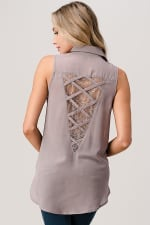 Kaii High Low Hemmed with Lace Insent & Lattice Detail Button Front Sleeveless Shirt - Grey - Back
