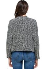 Kaii Tweed Boucle Biker Jacket - Grey - Back