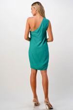 Kaii Ruffle One Shoulder Dress - Green - Back