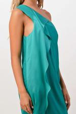 Kaii Ruffle One Shoulder Dress - Green - Front