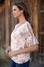 Floral Mesh Cold Shoulder Bubble Hem Blouse - Misses - 5