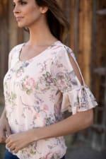 Floral Mesh Cold Shoulder Bubble Hem Blouse - Misses - 3
