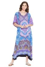Blue And Purple Polyester Maxi Kaftan Dress - Plus - Blue / Purple - Front
