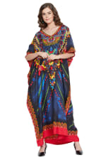 Blue Polyester Maxi Kaftan Dress - Plus - Blue - Front