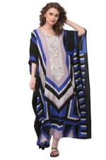 Blue Wide Sleeve Maxi Kaftan Dress - Plus - Blue - Front