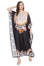 Black Wide Sleeve Maxi Kaftan Dress - Plus - 1