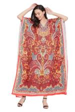 Red Wide Sleeve Maxi Kaftan Dress - Plus - 1