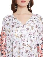 Polyester Kaftan Long Maxi Dress - Plus - White - Detail