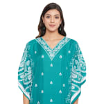 Polyester Kaftan Long Maxi Dress - Plus - Turquoise - Detail