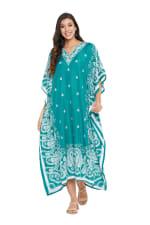 Polyester Kaftan Long Maxi Dress - Plus - Turquoise - Front