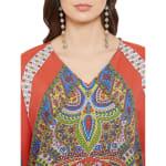 Polyester Kaftan Long Maxi Dress - Plus - Red - Detail