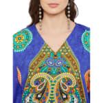 Polyester Kaftan Long Maxi Dress - Plus - Blue - Detail