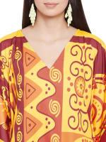 Yellow Kaftan Long Maxi Dress - Plus - 3