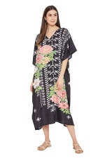 Black Kaftan Long Maxi Dress - Plus - 1