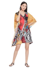 Multicolor Polyester Short Kaftan Tunic - Plus - Multicolor - Front