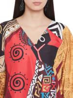 Multicolor Polyester Short Kaftan Tunic - Plus - Multicolor - Detail