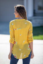 "Saffron Floral Embroidered ""To Tie Or Not To Tie"" Blouse - Misses - Saffron - Back"